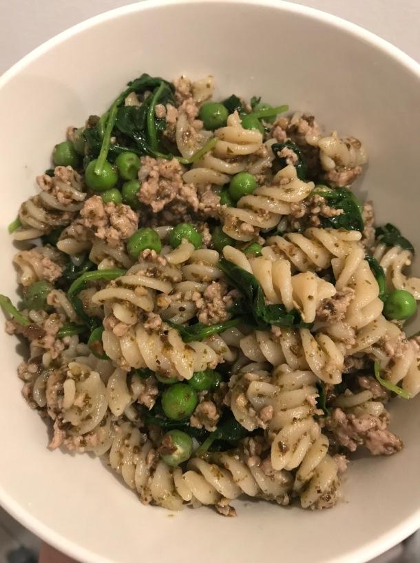 Rotini with Sausage, Baby Kale, Peas, and Pesto4
