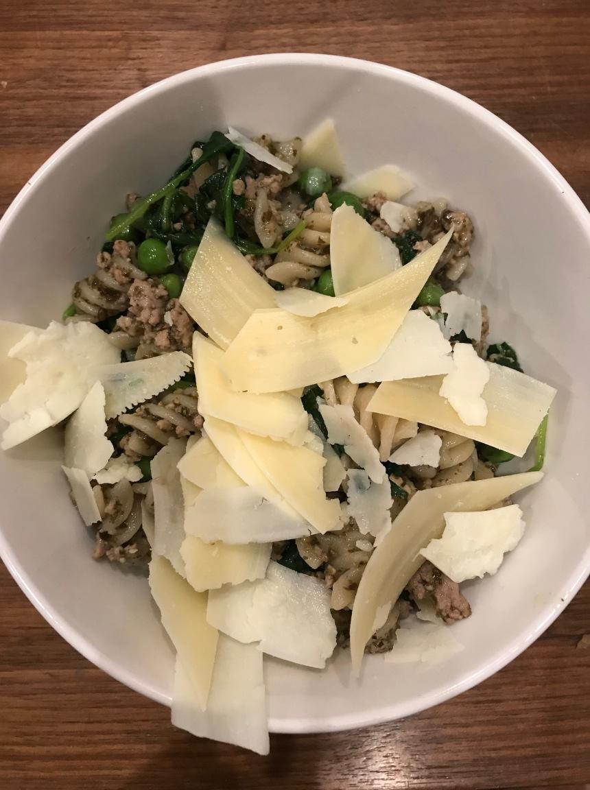 Rotini with Sausage, Baby Kale, Peas, and Pesto5