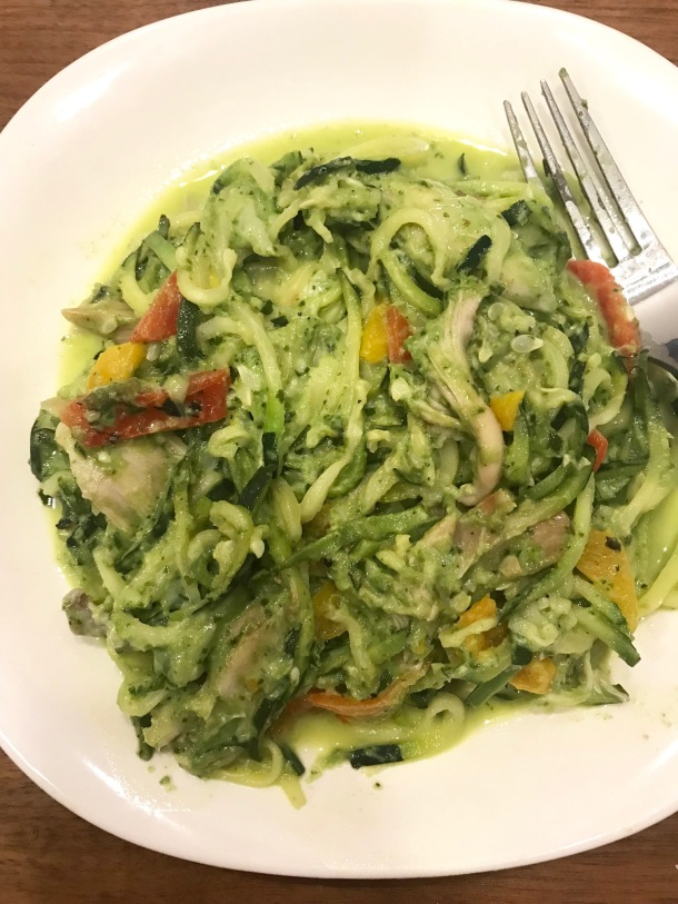 Zoodles with Kale Cashew Pesto, Roasted Peppers, Chicken, and Pepper Jack2