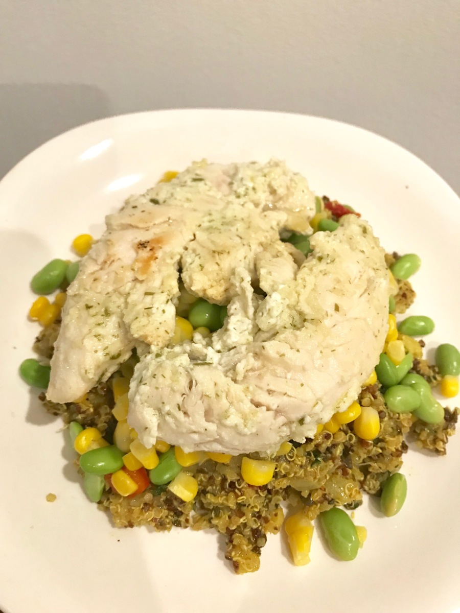 Onion Yogurt Chicken Over Curry Quinoa
