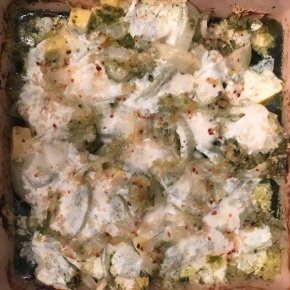 Seasonal Tastes: June 2018 – Chicken Pesto Zucchini Bake