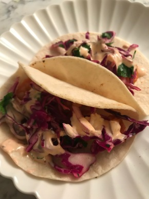 Shrimp Tacos with Slaw and Sriracha Ranch