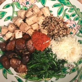 Quinoa Pesto Bowls with Mushrooms, Spinach, and Tofu