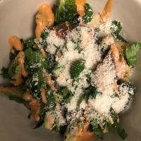 Brussels Sprouts with Chipotle Aioli and Cotija