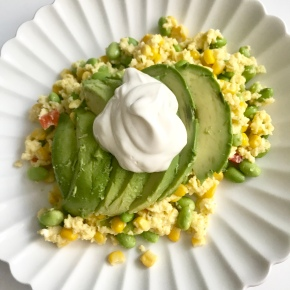 Edamame, Corn, and Avocado Scramble