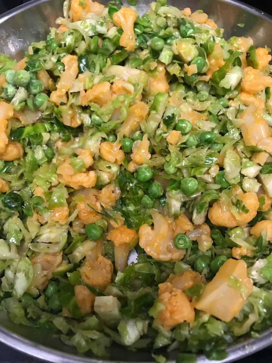 Shredded Brussels Sprouts with Buffalo Cauliflower