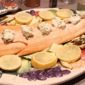 Salmon with Lemon Basil Goat Cheese