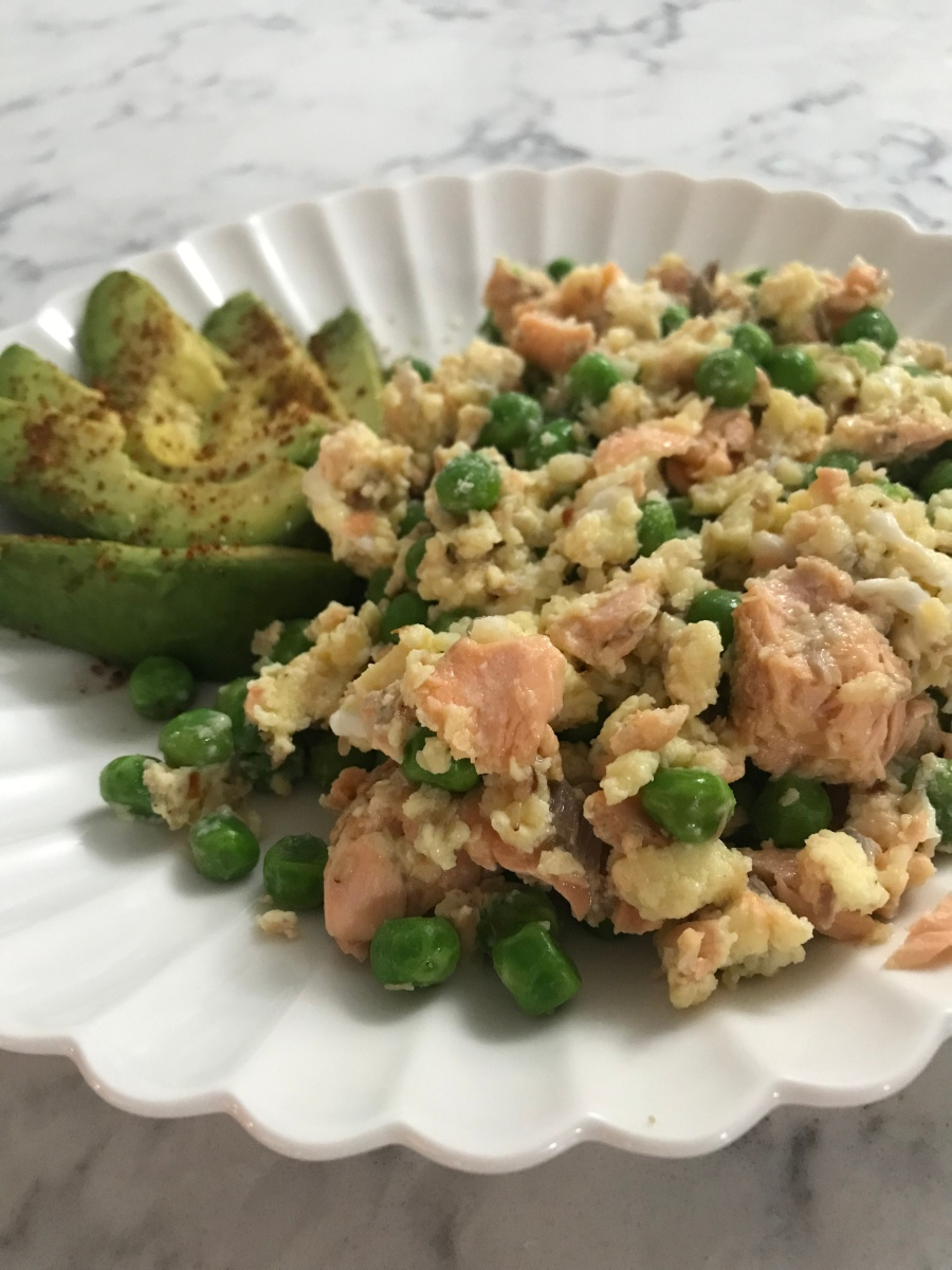 Salmon, Pea, and Parm Scramble