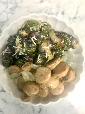 Garlicky Chicken Sausage and Brussels Sprout RiceBowl