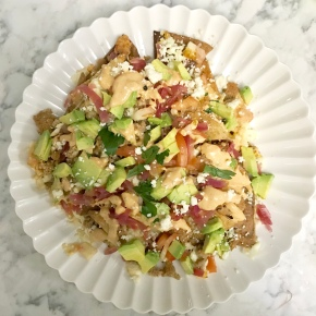 Ground Turkey Nachos with Pickled Red Onion & Chipotle Crema