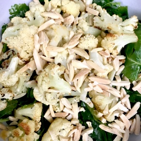Roasted Cauliflower and Baby Kale Salad with Tahini Dressing