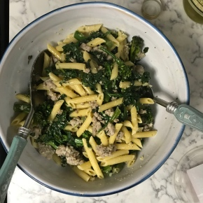 Seasonal Tastes: February 2019 – Penne with Sausage, Baby Broccoli, and Spinach