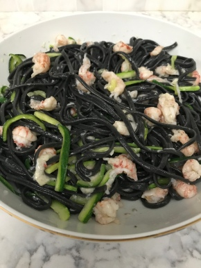 Squid Ink Pasta with Langoustine and Garlic Oil