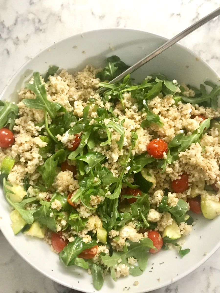 Couscous Salad with Roasted Veggies, Arugula, and Feta