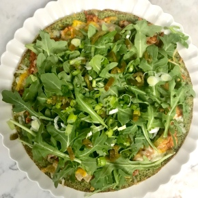 BBQ Chicken Pizza on Broccoli Kale Crust