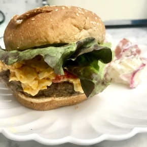 Pimento Cheese and Honey Ale Mustard Burgers