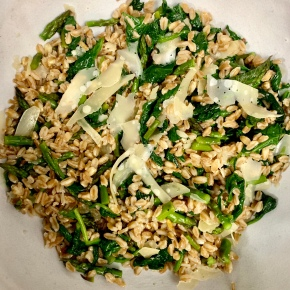 Farro with Truffle Oil, Asparagus, and Spinach