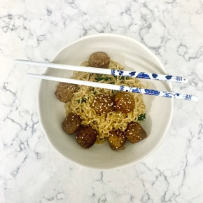 Garlic Butter Ramen with Honey GarlicMeatballs