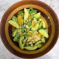 Grilled Corn and Avocado Salad with Jalapeño Feta Dressing