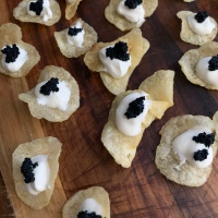 Potato Chip Caviar Canapés (& Hamilton Menu)