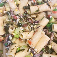 Rigatoni with Collards and Succotash