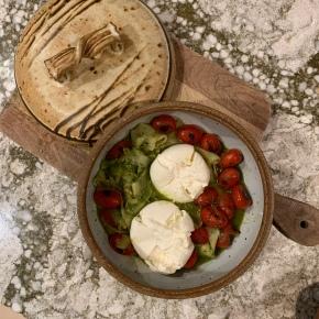Zucchini Pappardelle with Pesto andBurrata